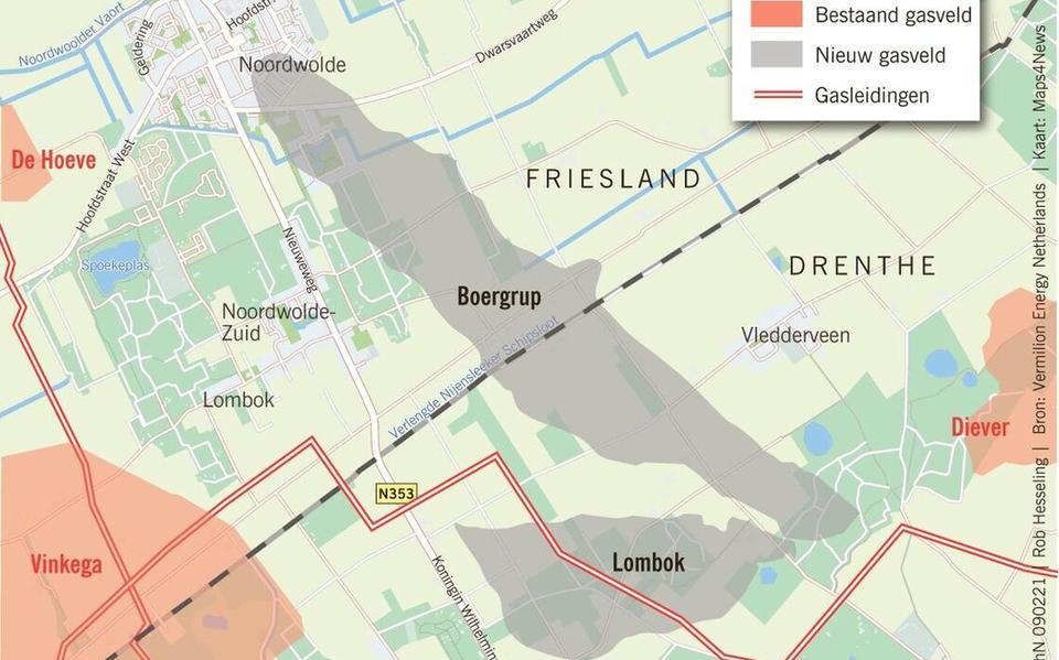 Vermilion wil de nieuwe gasvelden Boergrup en Lombok op de grens van Friesland en Drenthe aanboren.